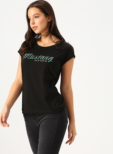 Mustang Mustang Yuvarlak Yaka T-Shirt Siyah